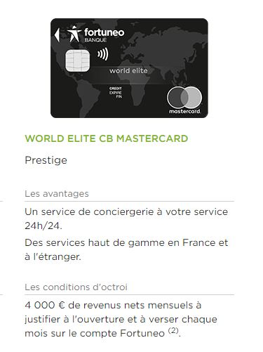 carte Elite Fortuneo