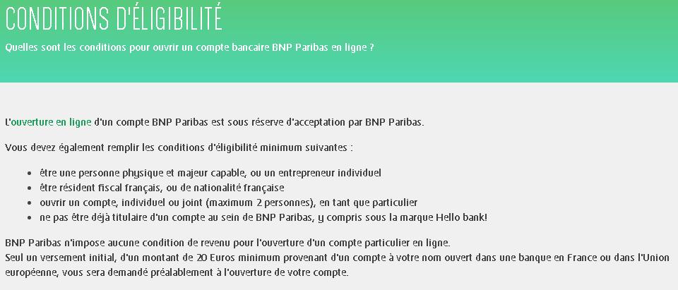 Conditions d'ouverture de compte BNP Paribas en ligne