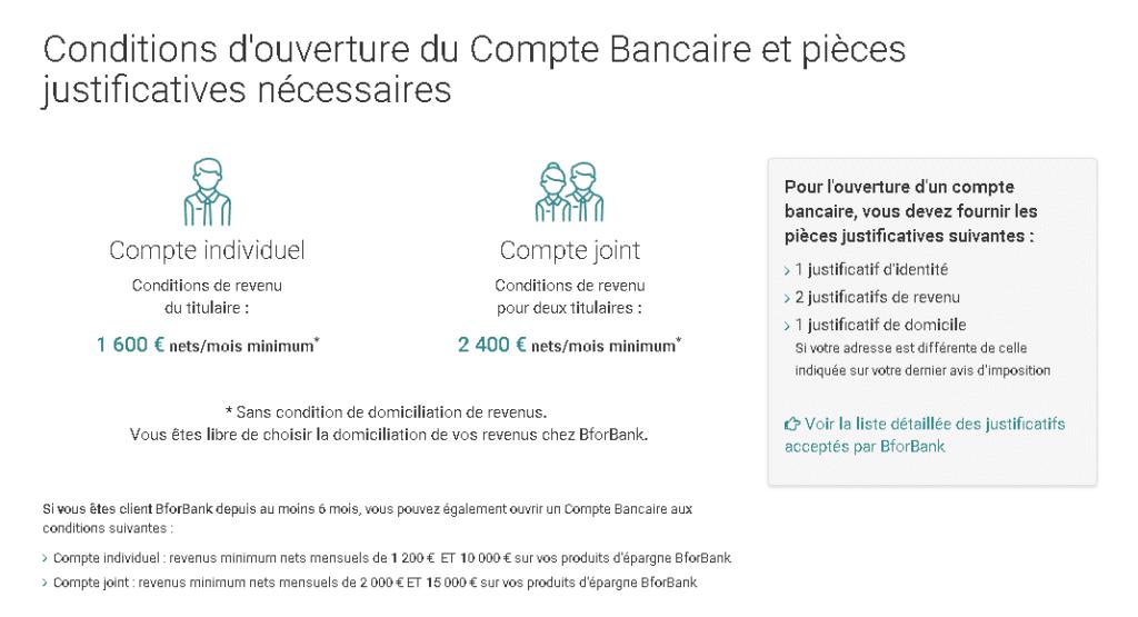 Résumé des conditions d'ouverture du compte bancaire BforBank