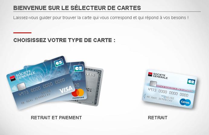 Service de sélecteur de cartes bancaires de la Société Générale
