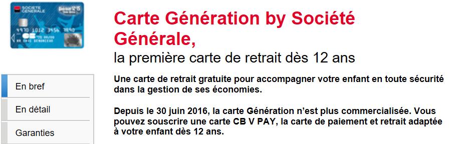 Carte Génération by Société Générale