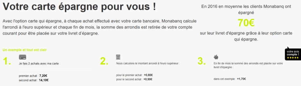 """Option """"Carte qui épargne"""" de Monabanq"""