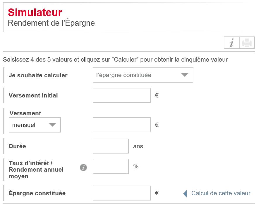 Simulateur d'épargne Société Générale
