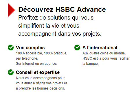Avantages HSBC Advance