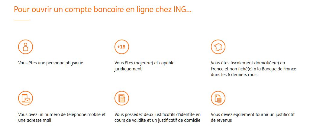 conditions d'ouverture compte bancaire ING