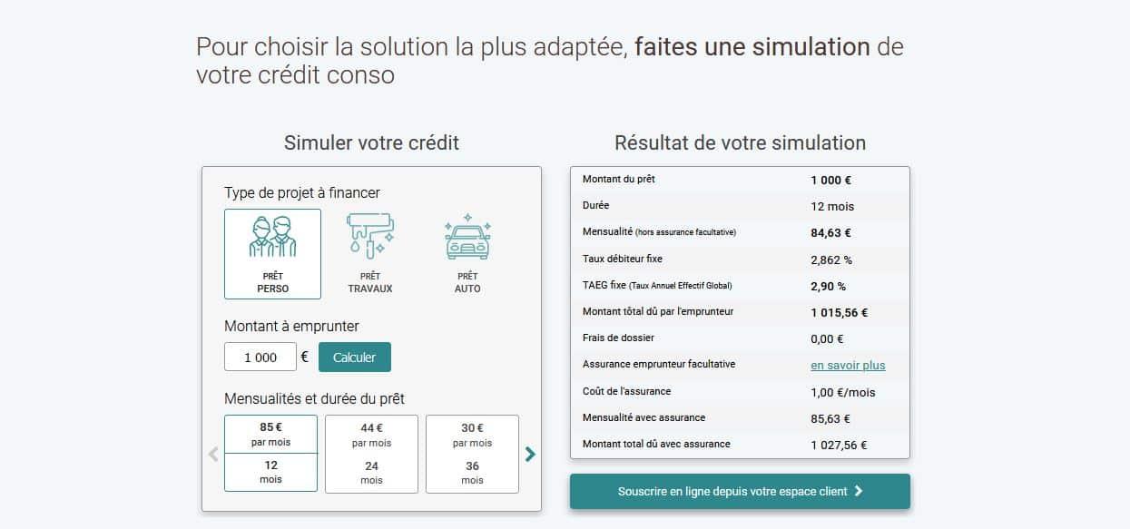 simulation crédit Bforbank