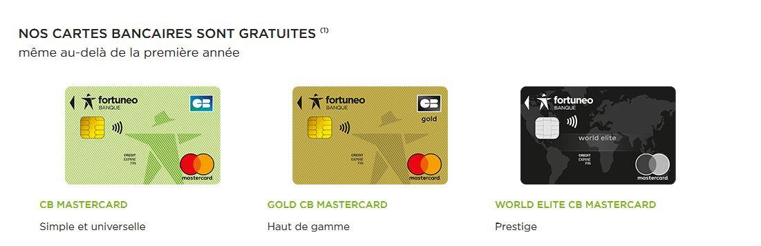 Fortuneo carte bancaire gratuite