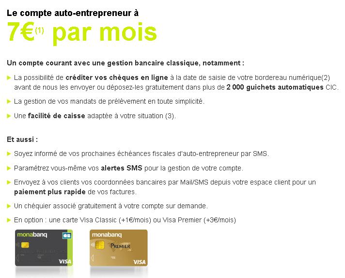 Résumé de l'offre compte courant auto-entrepreneur chez Monabanq