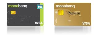 les cartes bancaires Visa Classic et Visa Premier proposés par Monabanq