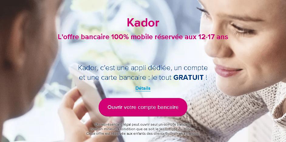 l'offre de carte bancaire gratuite pour mineur Kador de Boursorama Banque