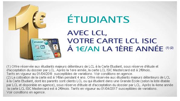 L'offre de carte bancaire LCL ISIC de MasterCard