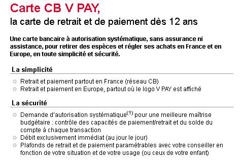 L'offre de carte V Pay de la Société Générale