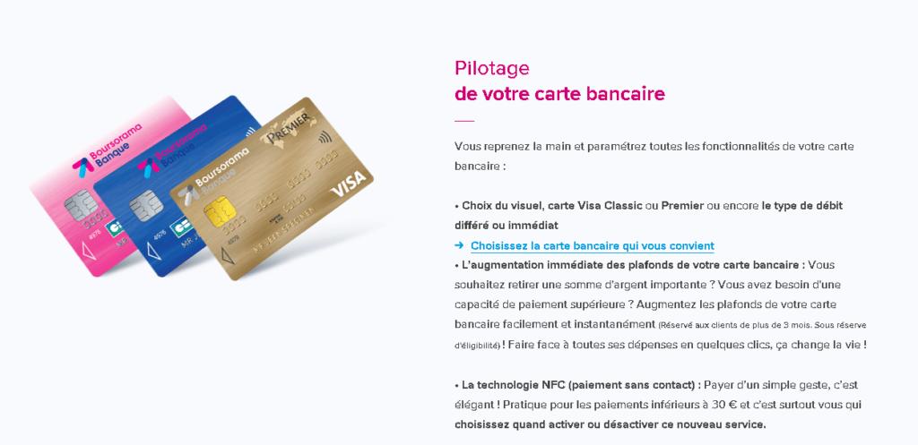 Les 3 cartes bancaires de la banque en ligne Boursorama Banque