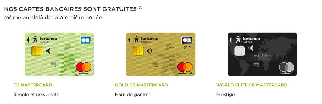 Cartes bancaires de Fortuneo
