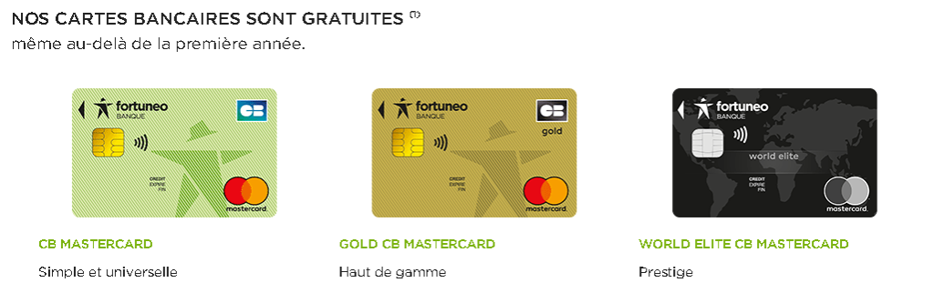 Les 3 cartes bancaires de Fortuneo