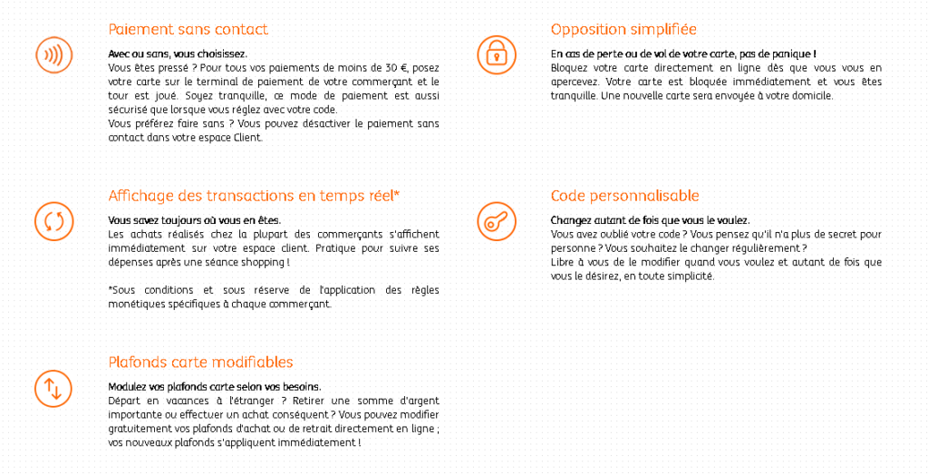 Les fonctionnalités liées à la gestion de la carte bancaire ING Direct