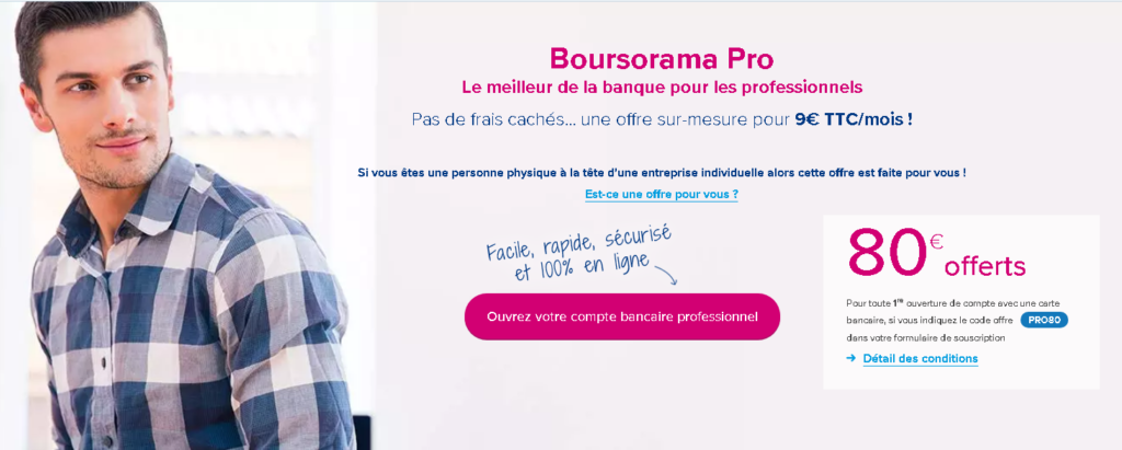 l'offre bancaire Boursorama Pro