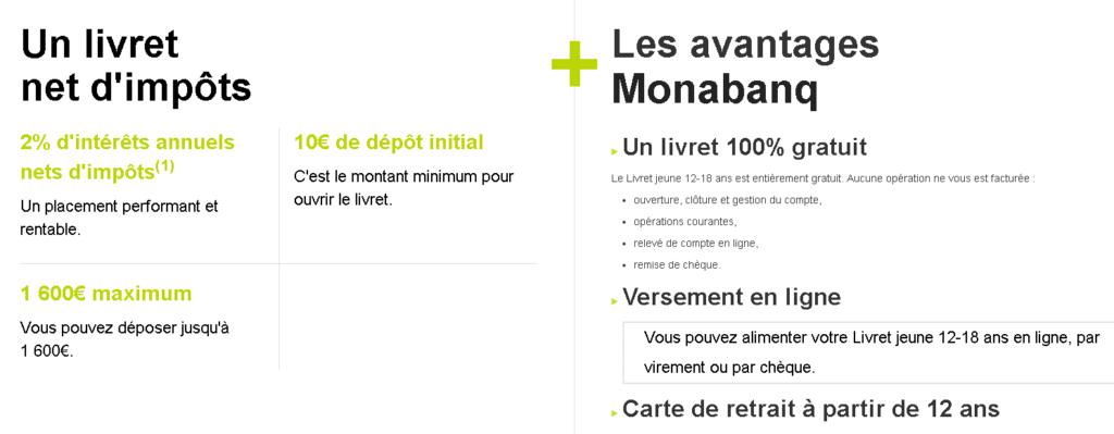 Le Livret Jeune de Monabanq en détails