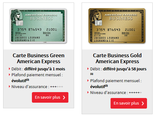 Cartes American Express de la Société Générale