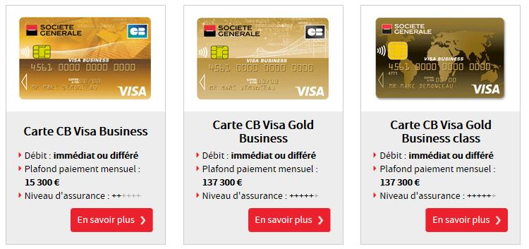 cartes bancaires Visa de la Société Générale