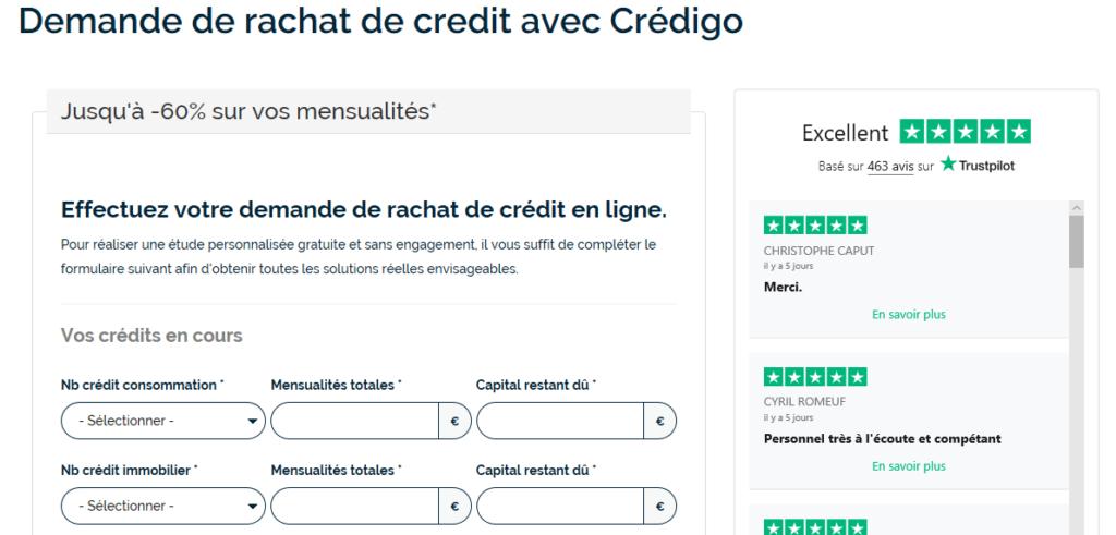 demande de rachat de crédit chez Crédigo