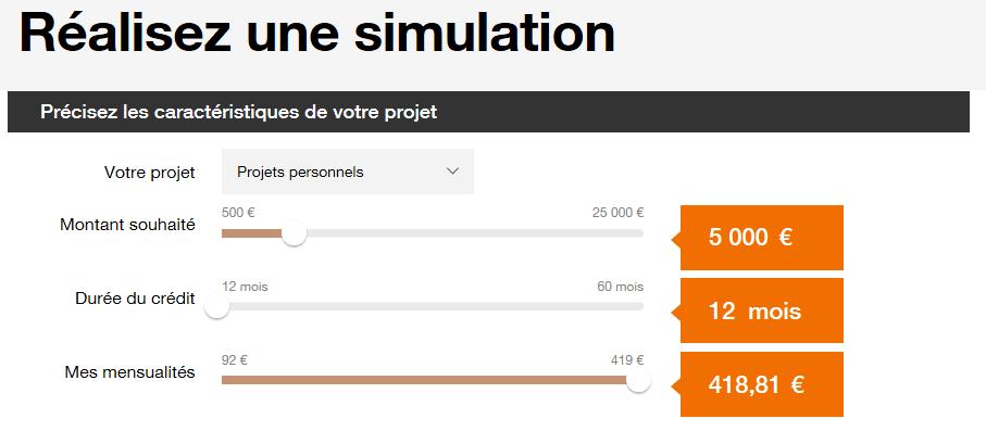 Simulation de crédit sur le site d'Orange Bank