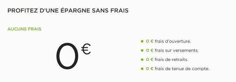 frais du livret + de Fortuneo