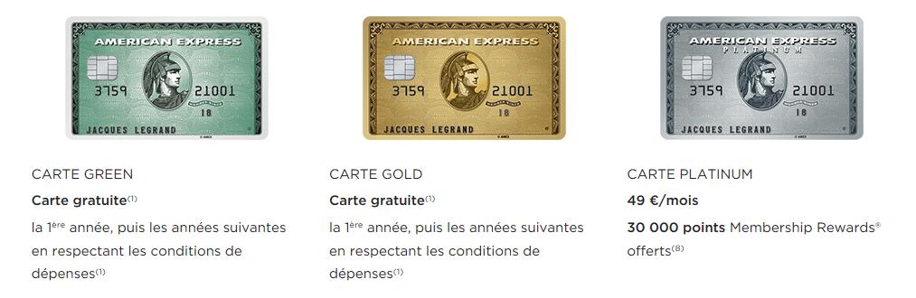 carte Gold gratuite American Express