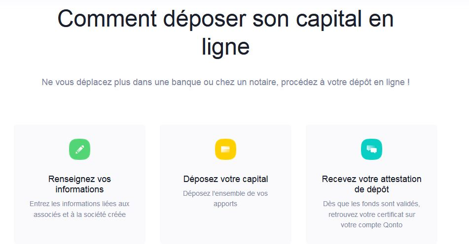 Etapes depot de capital en ligne