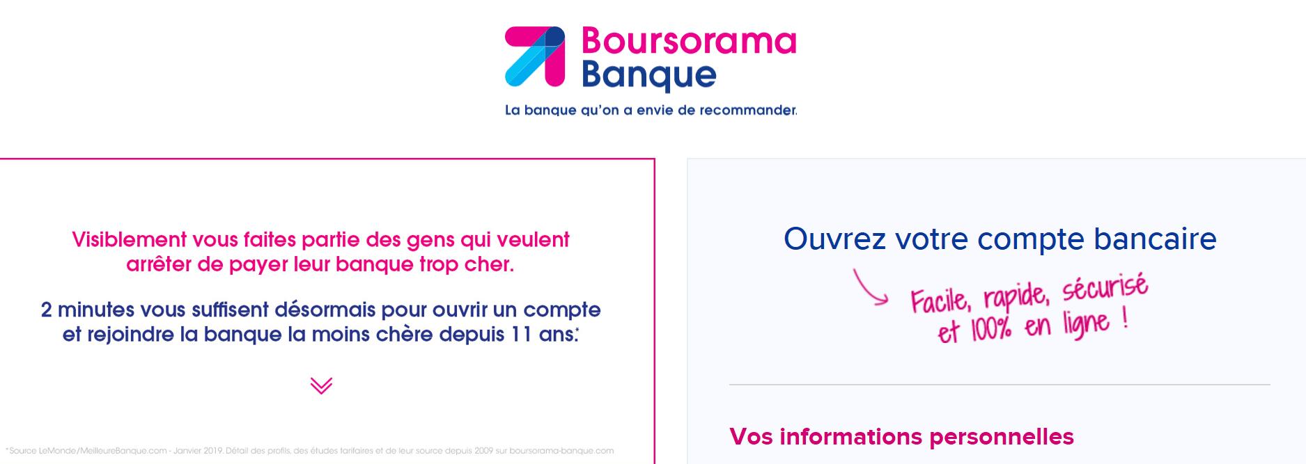 ouverture de compte Boursorama formulaire