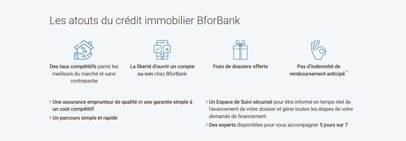 avantages Bforbank credit immo