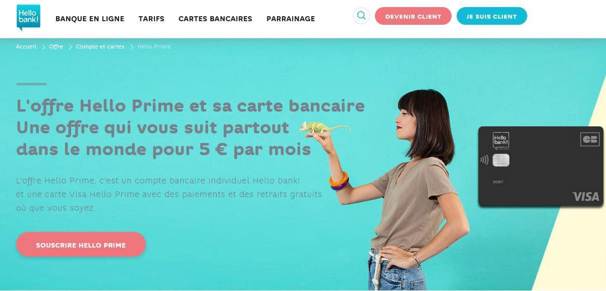 ouverture de compte Hello Bank avec la carte Hello Prime