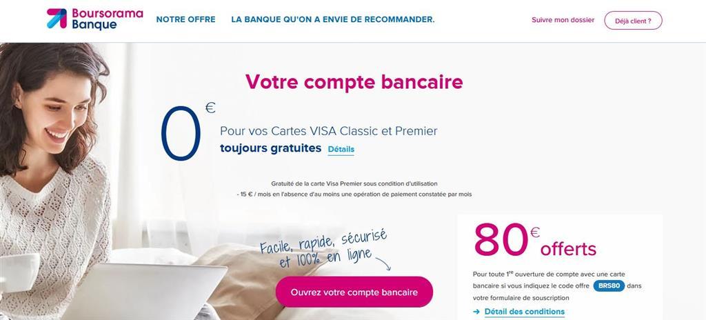Ouvrir un premier compte bancaire en ligne Boursorama Visa gratuite