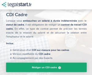 redaction contrat Legalstart avis
