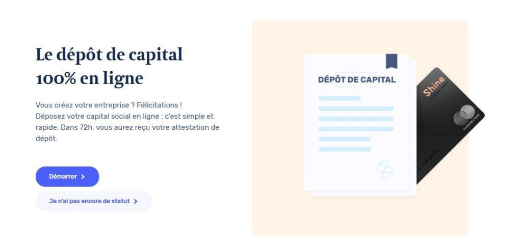Dépot de capital en ligne Sas