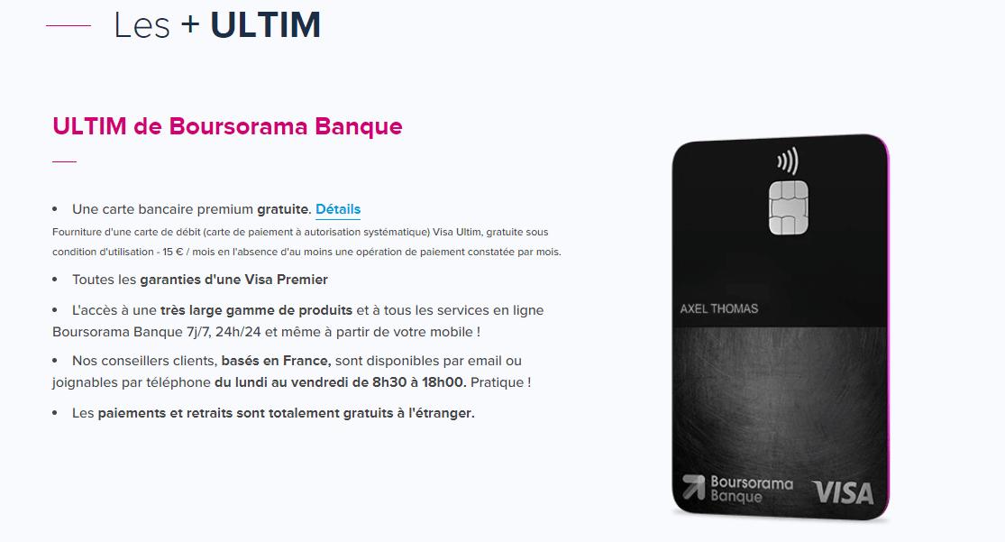 avis positifs carte visa Ultim Boursorama