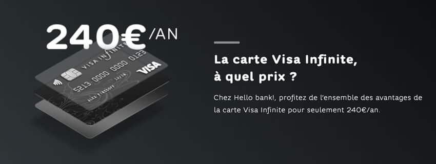 Conditions carte Hello Bank Visa Infinite