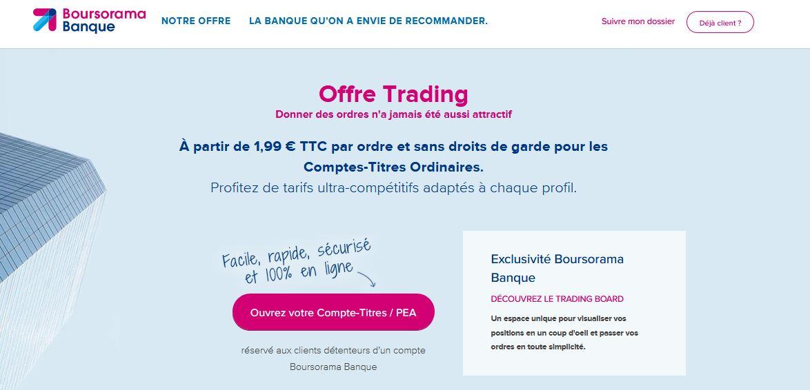 trading boursorama banque