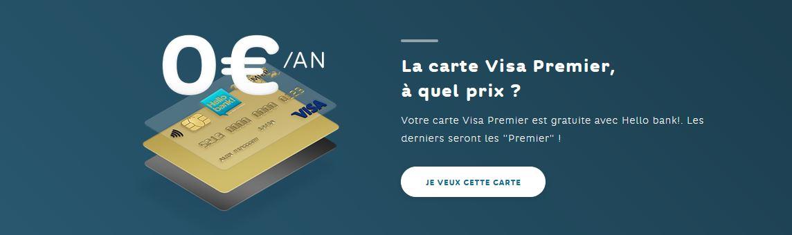 Carte Visa Premier Hello Bank avis gratuité