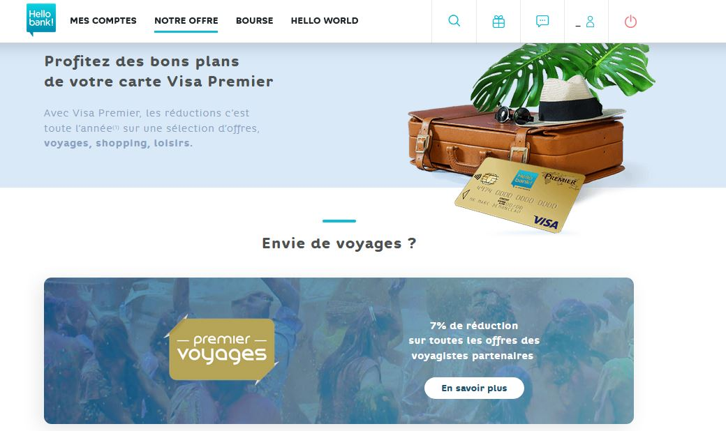 Carte Visa Premier Hello Bank avis avantages partenaires