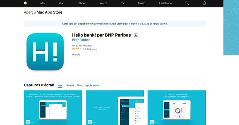 L'application Hello Bank sur l'apple store