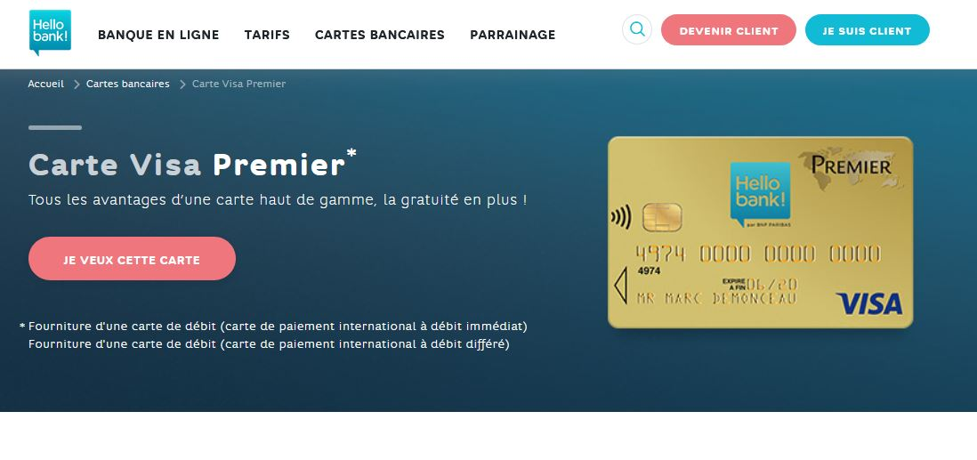 Carte Visa Premier Hello Bank avis