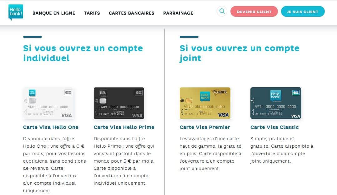 cartes bancaires gratuites Hello Bank