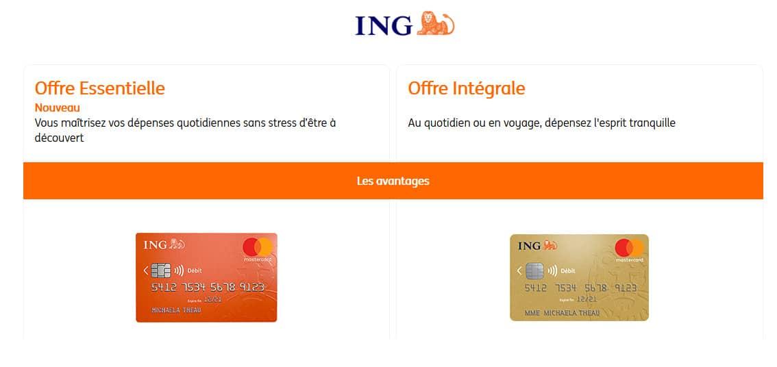 Avis carte banque en ligne ING