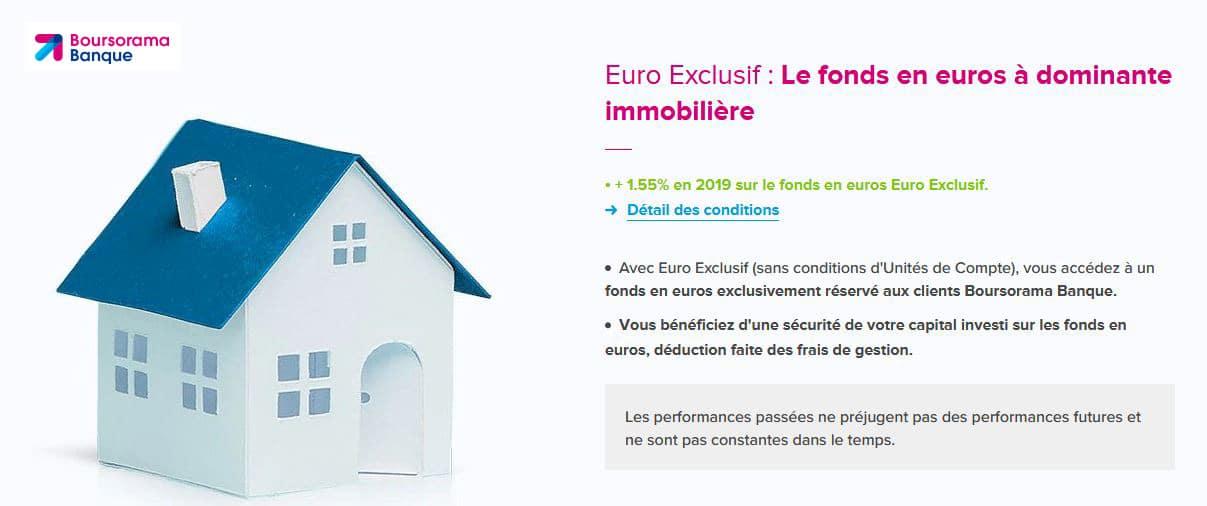 Boursorama Assurance Vie avis : fonds en euros