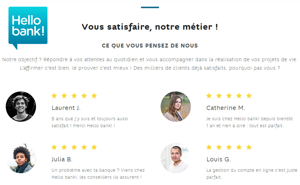 Avis clients sur Hello Bank