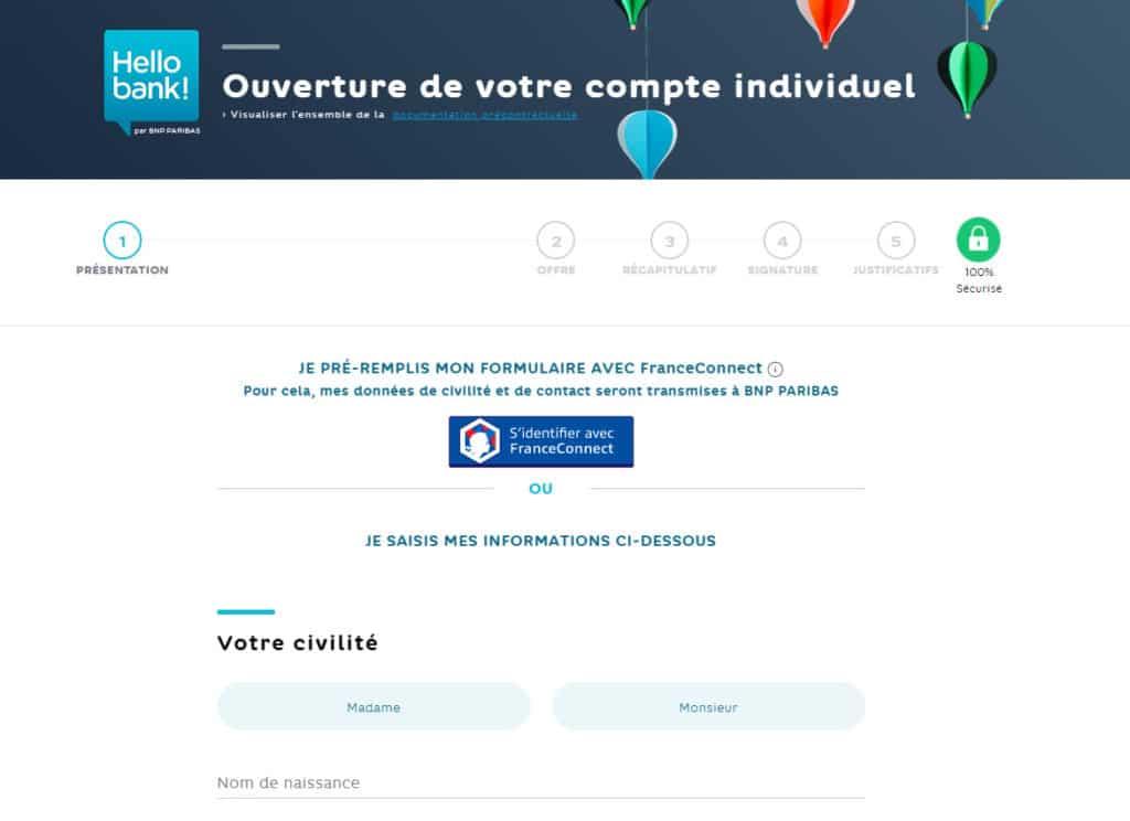 formulaire d'ouverture de compte Hello Bank