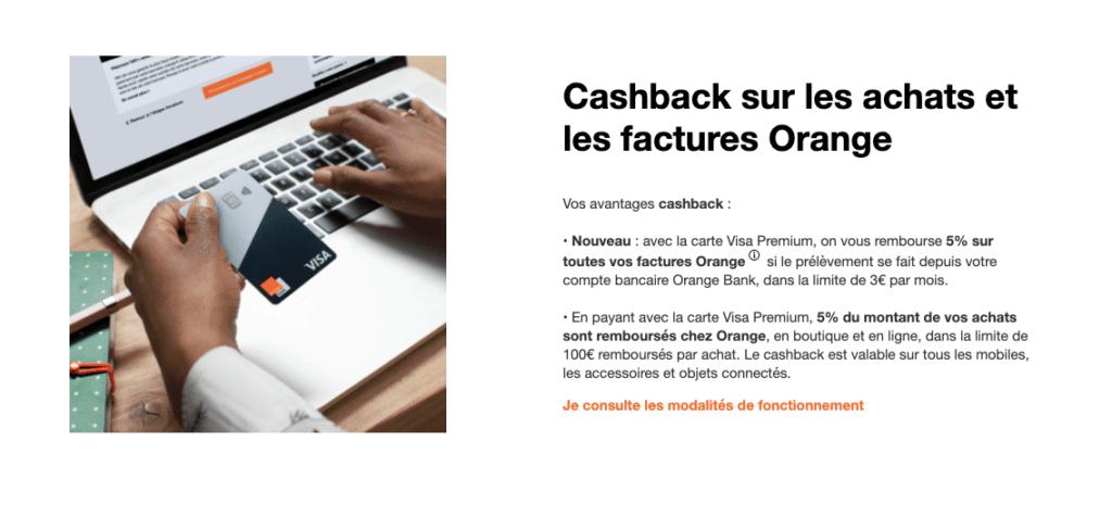 carte bancaire cashback orange bank