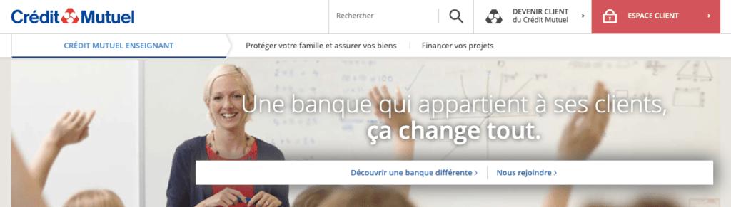 Banque pour fonctionnaire enseignant Crédit Mutuel Enseignant