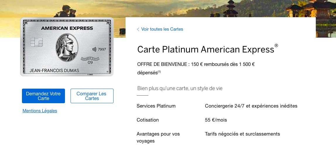 carte métal Platinum Amex